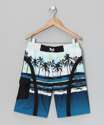 White & Blue Palm Boardshorts - Boys