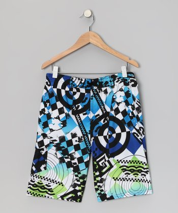 Blue & Black Bullseye Boardshorts - Boys