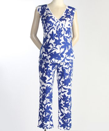 Japanese Weekend Marine Floral Maternity & Nursing Pajamas