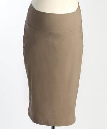Japanese Weekend Taupe Maternity Pencil Skirt