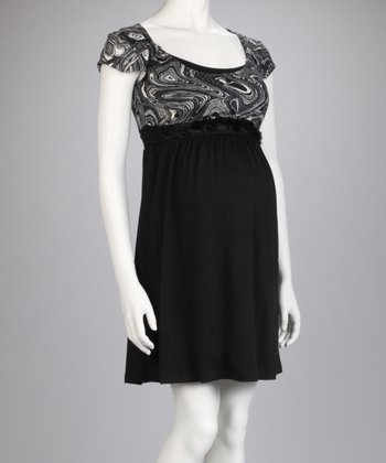 Black & White Moon Maternity & Nursing Dress