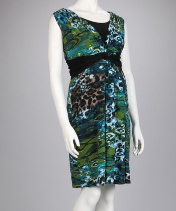 Blue & Green Leopard Surplice Maternity & Nursing Dress
