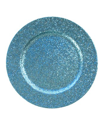 Blue Glitter Charger Plate - Set of Four