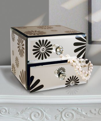Black & Gold Flower Mirror 5.5'' Jewelry Box