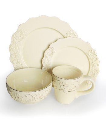 Bianca Petals Cream 16-Piece Dining Set