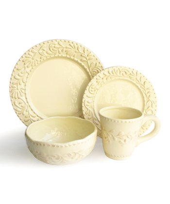 Cream Bianca Leaf Dinnerware Set