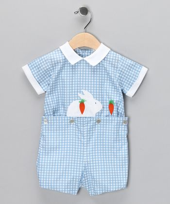 Blue Gingham Bunny Button Romper - Infant & Toddler