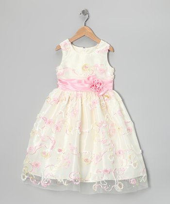 Cream Soutache Dress - Toddler & Girls