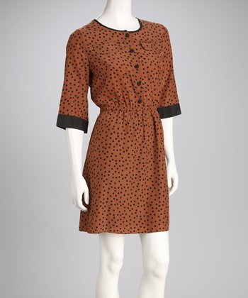 Brown & Black Polka Dot Dress
