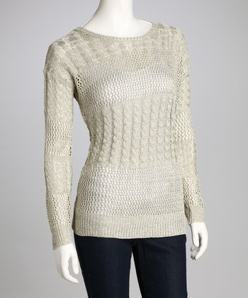 Khaki Shimmer Panel Knit Sweater