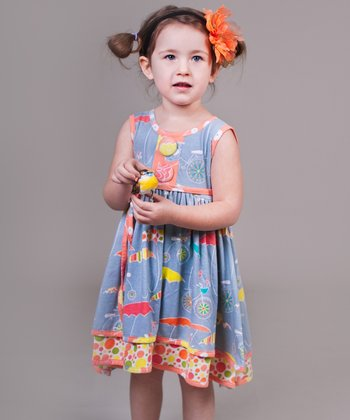 Periwinkle Umbrella Natalie Dress - Girls