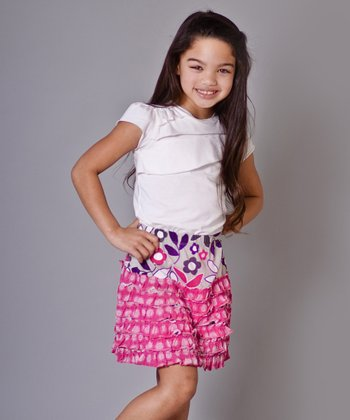 Pink & Purple Owls Danielle Tee & Skirt - Girls