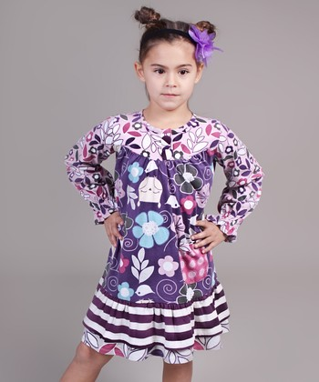 Pink & Purple Owl Renee Ruffle Dress - Toddler & Girls