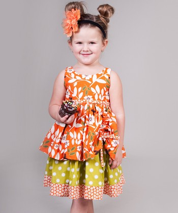 Orange & Green Maple Tenley Dress - Infant, Toddler & Girls