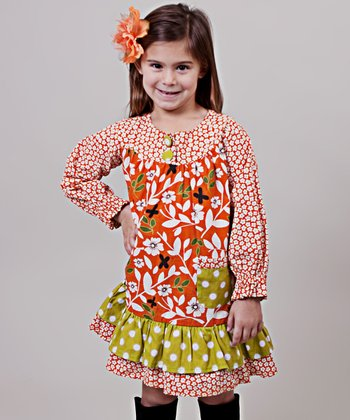 Orange & Green Maple Renee Ruffle Dress - Toddler & Girls