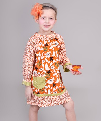 Orange & Green Maple Peasant Dress - Toddler & Girls