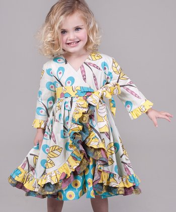 Yellow & Aqua Dazzle Jordan Dress - Girls