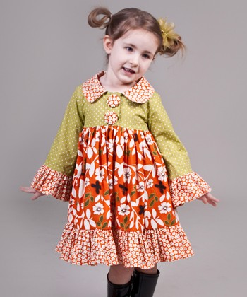 Orange & Green Maple Lilly Dress - Toddler & Girls