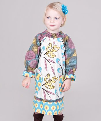 Yellow & Aqua Dazzle Peasant Dress - Infant, Toddler & Girls