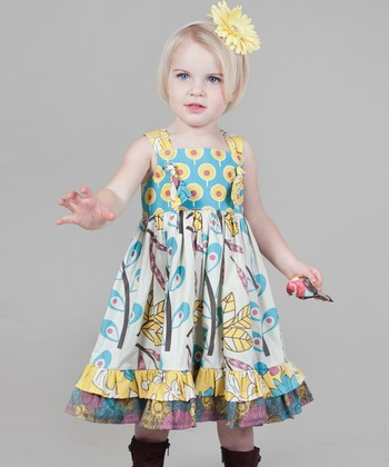 Yellow & Aqua Dazzle Bella Knot Dress - Toddler & Girls