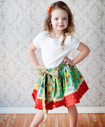 Blue & Brown Twirly Skirt - Infant, Toddler & Girls