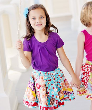 Red & Blue Aspen Twirly Skirt - Infant, Toddler & Girls