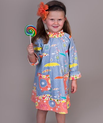 Periwinkle Umbrella Peasant Dress - Girls