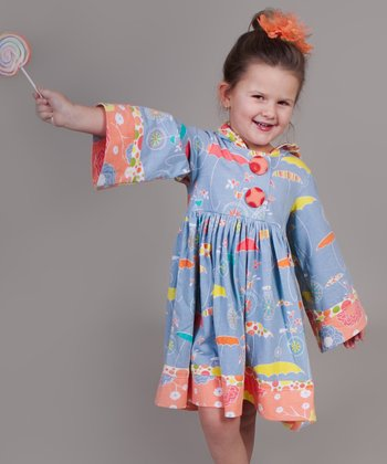 Periwinkle Umbrella Hannah Dress - Girls