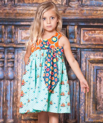 Aqua Sailboat Bow Dress - Infant, Toddler & Girls