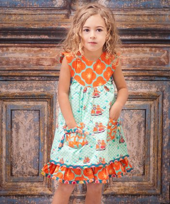 Aqua Sailboat Yoke Dress - Infant, Toddler & Girls