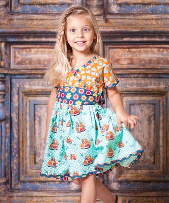 Aqua Sailboat Ayana Dress - Girls