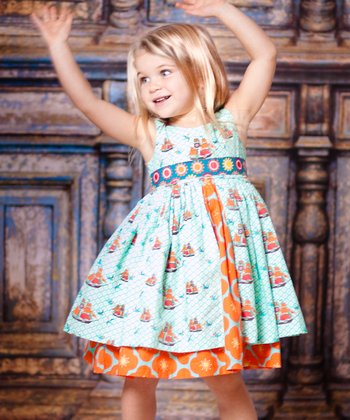 Aqua Sailboat Kate Dress - Girls
