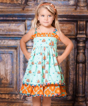 Aqua Sailboat Sassy Dress - Infant, Toddler & Girls
