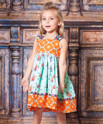 Aqua Sailboat Babydoll Dress - Toddler & Girls