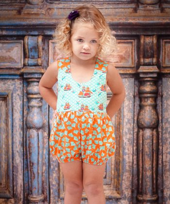 Aqua & Orange Sailboat Romper - Infant & Toddler