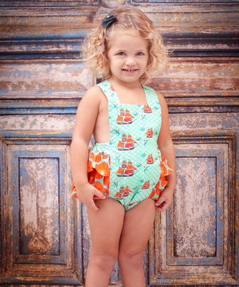 Aqua Sailboat Sunsuit - Infant & Toddler