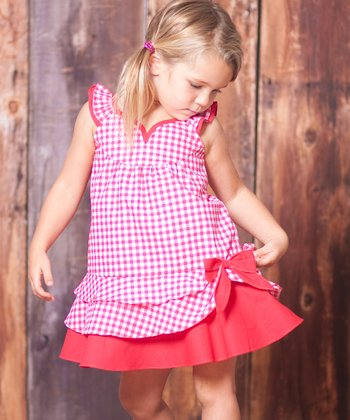 Teaberry Gingham Layered Dress - Toddler