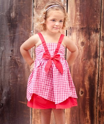 Teaberry Gingham Hanky Dress - Girls