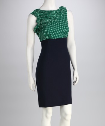 Kelly Green & Black Polka Dot Ruffle Dress