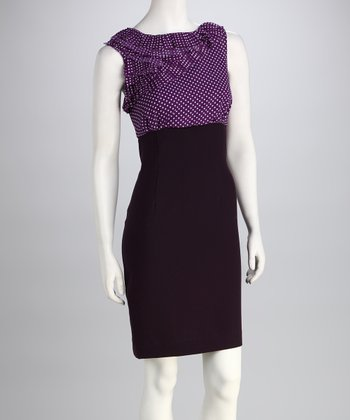 Plum & Black Polka Dot Ruffle Dress