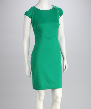 Kelly Green Button Ponte Dress