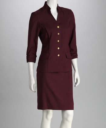 Berry Shirred Blazer & Skirt