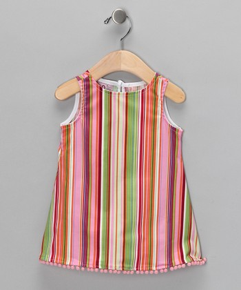 Pink Stripe Pom-Pom Dress - Infant, Toddler & Girls