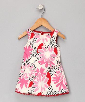 Pink Floral Pom-Pom Dress - Infant, Toddler & Girls