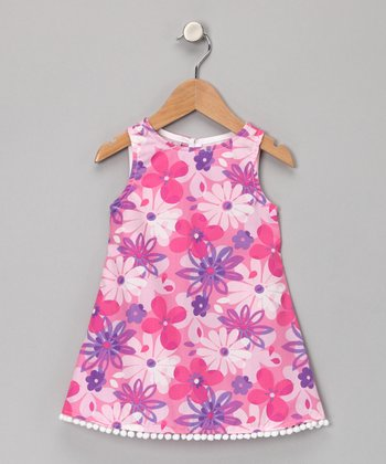 Pink Floral Pom-Pom Dress - Infant & Toddler