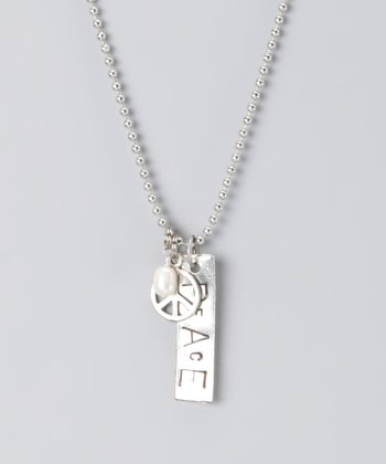 Silver Hand-Stamped 'Peace' Necklace