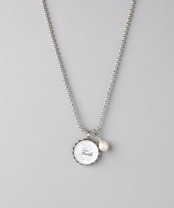 Silver 'Walk By Faith' Story Necklace