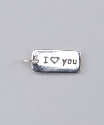 Sterling Silver Rectangle Love Charm