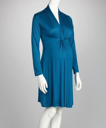 Teal Knot-Front Maternity Long-Sleeve Dress