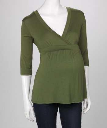 Olive Maternity & Nursing Surplice Top